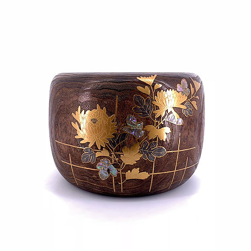 Meiji wood hibachi w/ inlaid design, brown