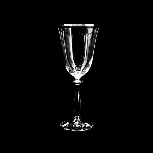 A.G.L crystal wine glass with silver rim