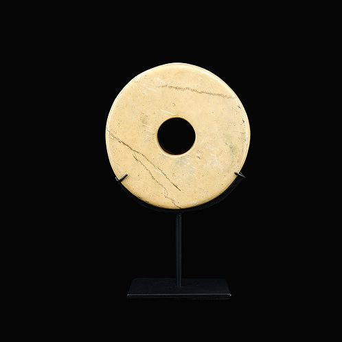 Yellow megalith stone in coin shape w/ stand
