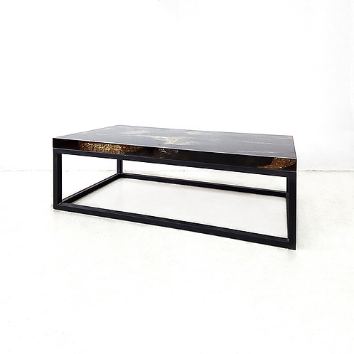 Aqua coffee table with black iron base