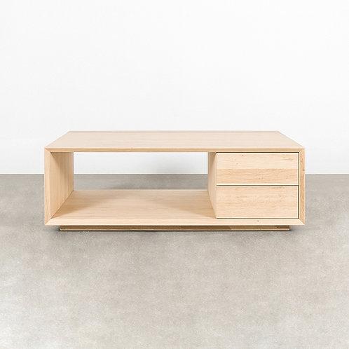 Cube coffee table 2 drawers 1 shelf