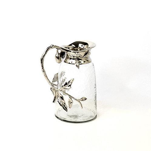 Glass water jar w/ silver branch