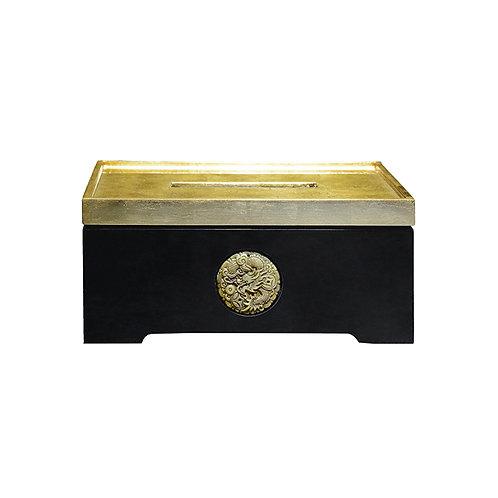 Prosperous tissue box in gold/ black