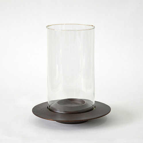 Wooden disc shaped candle holder w/ glass - Dark