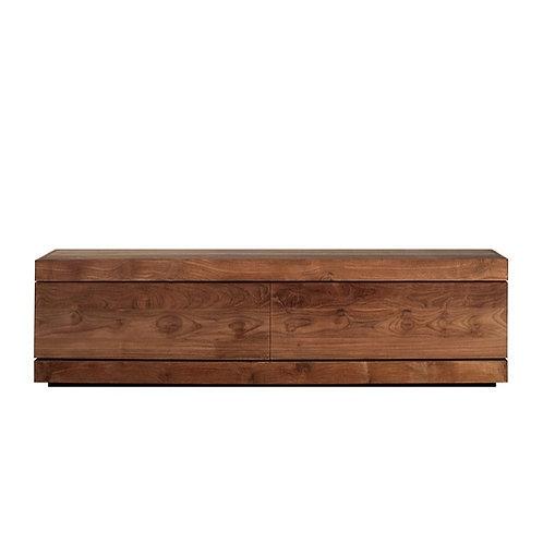 Teak Burger TV cupboard low with 1 flip-down door and 1 drawer (w140x d470)