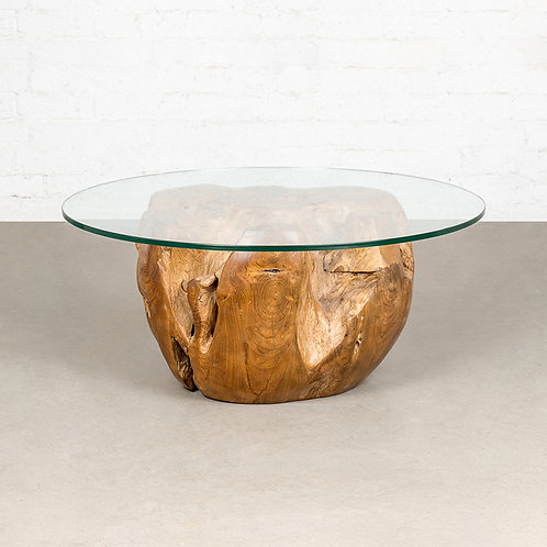 Teak ball coffee table with glass top (Dia: 760)
