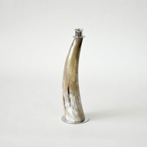 Horn candle stand with metal base - L