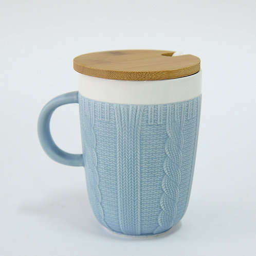 Blue woven pattern mug w/ wooden lid