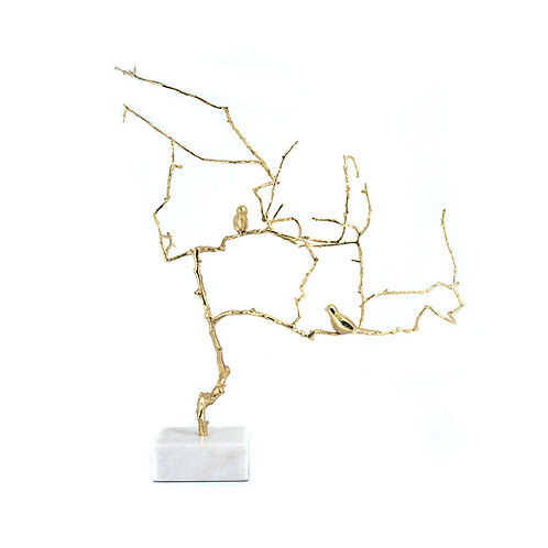 Bird on Brass Branch with marble base