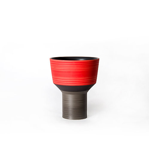 Funnel vase- tall  (red/ grey)