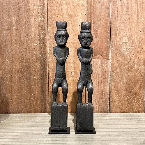 Wooden dayak figure # 6 set of 2