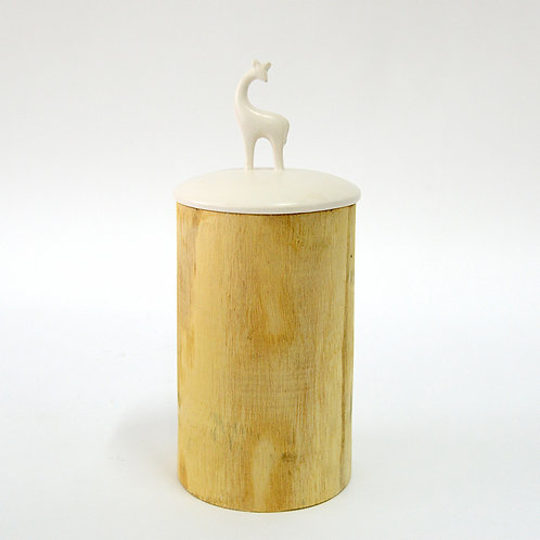 Wooden jar w/ ceramic lid, deer, h300