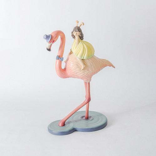 Dreamland - girl & flamingos