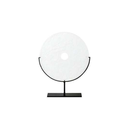Round resin w/ cloud pattern- white