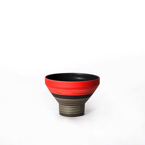 Funnel bowl- tall (red/ grey)