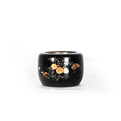 Meiji wood hibachi w/ flower gold lacquer, black