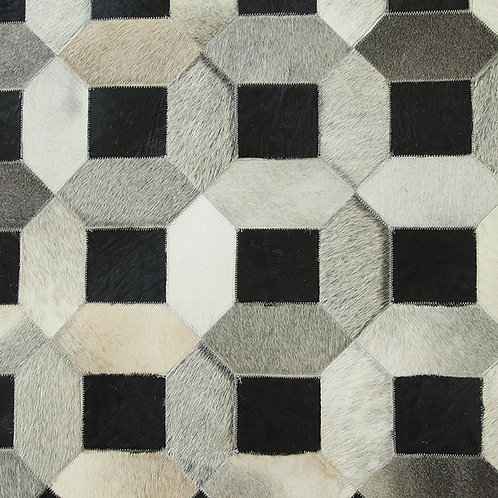 Cow hide in lattice rug