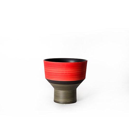 Funnel vase- short  (red/ grey)
