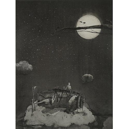 Biplane & full moon - ink painting 2