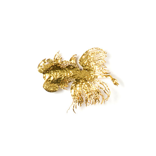 Laser cut goldfish wall sculpture, w200mm (*gold leaf)