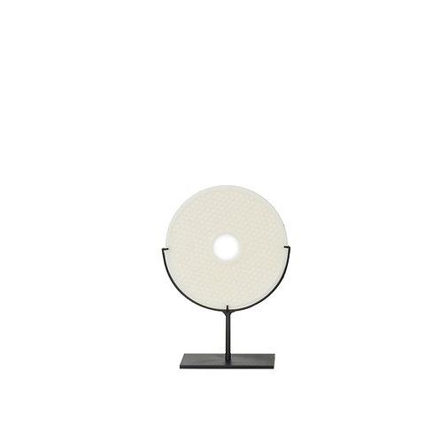 Round resin w/ dot pattern- white