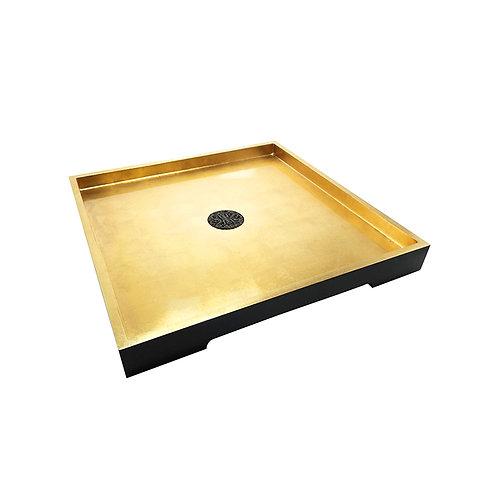 Gold prosperity tray (square) in gold/ black