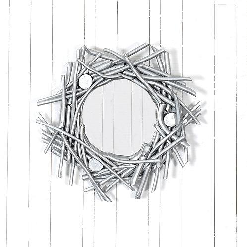 Teak branches round mirror