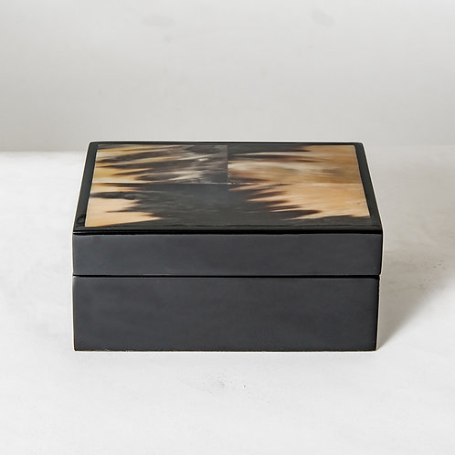 Black marbled horn box - S