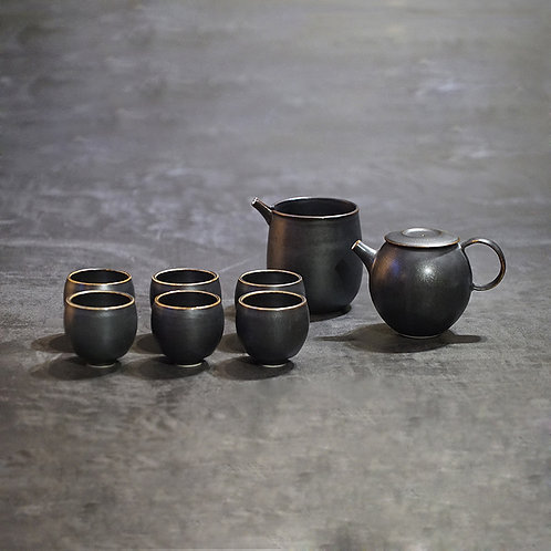 Round tea set - 1pot, 1mug, 6cups