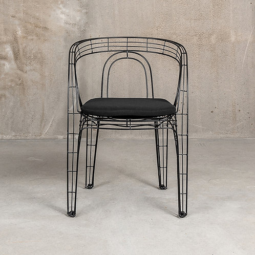 Pamela Wire Chair in Black w/ black cushion