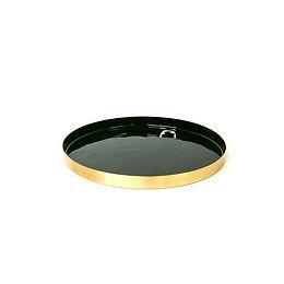 2-tone round tray - gold/ green, dia260
