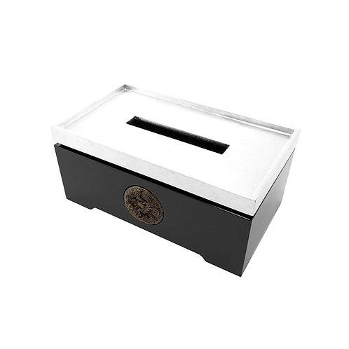 Prosperous tissue box in silver/ black