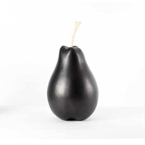 Resin pear sculpture metallic matt black - L