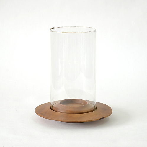 Wooden disc shaped candle holder w/ glass - light