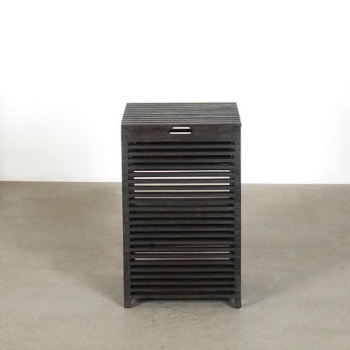 Stripe laundry basket - small (black)