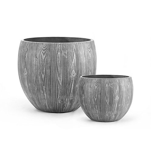 Cement woodgrain pot
