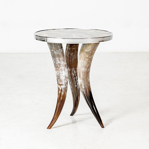 3 Legged Horn Table with Metal Rim
