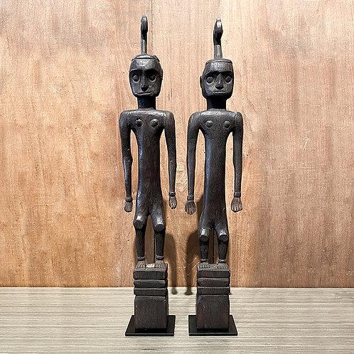 Wooden dayak figure #8 set of 2