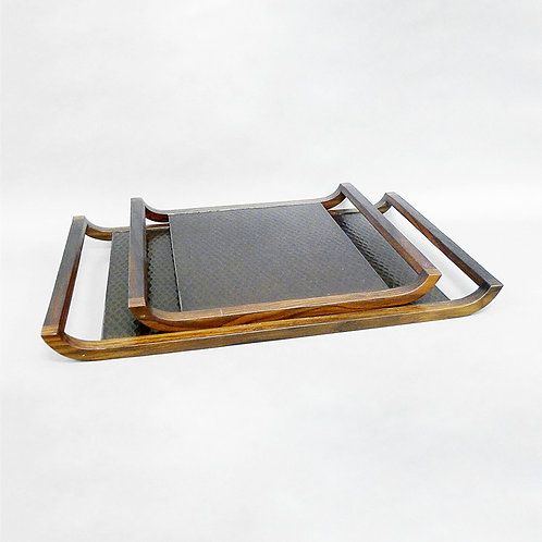 Pan-x tray with hammered metal - L