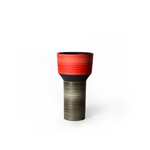 Tower vase- wide top (red/ grey)