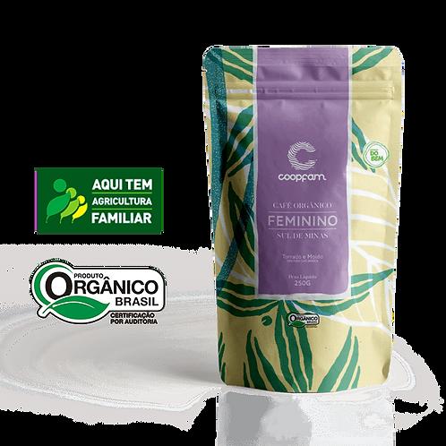 CAFÉ FEMININO ORGÂNICO TORRADO E MOÍDO 250 GR