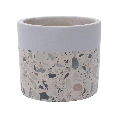 CACHEPOT CONCRETO GRANILITE FOSSIL STARDUST CINZA 8,5x8,5x7,5cm