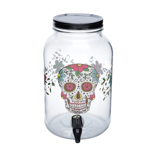 DISPENSER VIDRO SIMPLE GLASS SKULL PRETO 15x25,5x15cm - 3.5L
