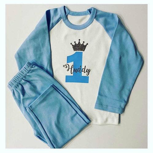 BLUE Birthday Crown Pyjamas