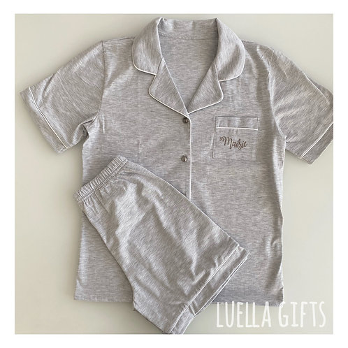 Luxury Grey Cotton Pyjamas Children & Adult