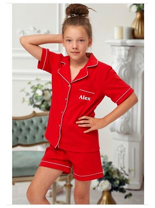 Red Luxury Cotton Short Pyjamas Children and Adult