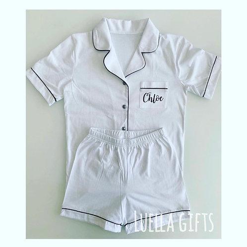 Luxury White Cotton Pyjamas Children and Adult