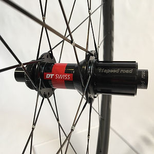 DT 240 CLD rear with DT Aerolite spokes wire tied and soldered Jet Bicycle Wheels