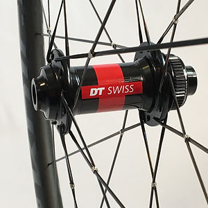 DT 240 CLD front hub with DT Aerolite spokes wire tied and soldered Jet Bicycle Wheels
