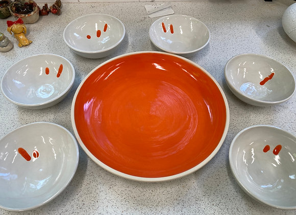 Orange Platter with small white bowls - SOLD OUT